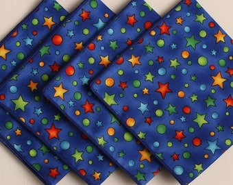 Lunch Box Napkins, Primary Color Stars, Children's Napkins, Small Cloth Napkins, Set of 4 Party Napkins