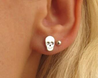 Silver Skull Studs - Sterling Silver Skull Earrings - Rocker Earrings - Gothic Earrings - tiny skull post earrings - Punk Stud Earring
