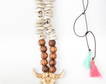 Bull necklace, candy skull, Long wooden necklace, yoga necklace, tassel necklace, long wooden rosary, wooden beads, shells necklace, summer