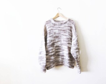 Mohair Sweater - Vintage Mohair Knit Sweater - Beige Tan Sweater - Chunky Sweater - Oversized Sweater - Fall Sweater - Marled Striped