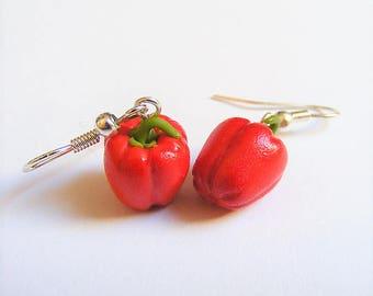 Food Jewelry Bell Pepper Earrings, Capsicum Earrings Pepper Charm, Pepper Jewelry  Miniature Food Earrings Mini  Food Jewellery Polymer Clay