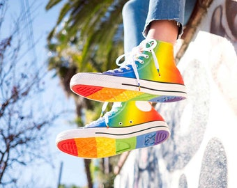 Rainbow Converse High Top Ladies Mens 2017 Pride Custom LGTBQ2 w/ Swarovski Crystal Rhinestone Bling Chuck Taylor All Star Sneakers Shoes