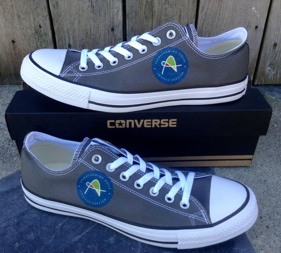 Custom Company Logo Converse Low Top Corporate Boss Team Gift on Classic Canvas w/ Swarovski Crystal Chuck Taylor All Star Sneakers Shoes