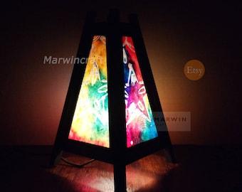 Asian Oriental Batik Moon Star Lamp Zen Bedside Lamp Floor Table Lamp Paper Japanese Light Lamp Shades Bedroom Home Decor Living Room