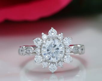 Vintage Forever One Moissanite Engagement Ring Diamond Halo Snowflake Style