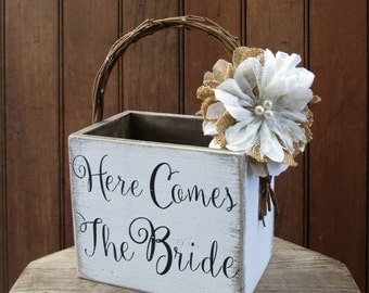 Here Comes the Bride - Rustic Flower Girl Basket - Wood Flower Girl Bucket - Burlap and Lace Wedding Basket - Wedding Pail - Flower Girl