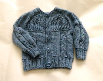 Blue baby boy cardigan, hand knit baby sweater, knitted baby cardigans, baby knitwear size 4 months, baby boy sweater, baby gift