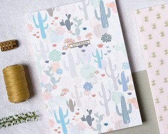 Notebook, A5 Journal, Blank Notebook, Gift Idea, Cactus Paper Good, Cacti Notebook, Pretty Journal, Stationery Gift