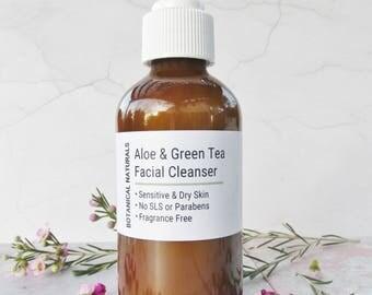 Face Wash, Aloe & Green Tea Facial Cleanser, Sensitive Skin, SLS Free