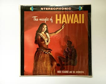 "Vintage Album""The Magic Of Hawaii"", Moki Kaaihui & His Orchestra,Hawaiian Music,Vinyl Record,Soft Music,Palace Records,"