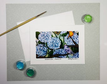 Hydrangea Greeting Card, Watercolor Flower Art Card, Hydrangea With Birds Painting, Floral Thank You Card, Anniversary Card, Birthday Card