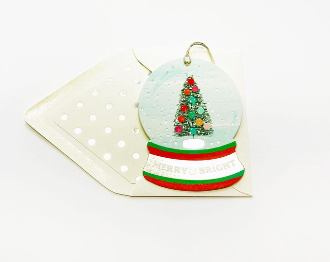Snow globe greeting and ornament Merry + Bright