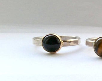 Black Onyx Silver Ring - Gemstone Ring - Sterling Silver Stackable Ring - Bezel Set - Simple Ring - Gemstone Stacking Ring