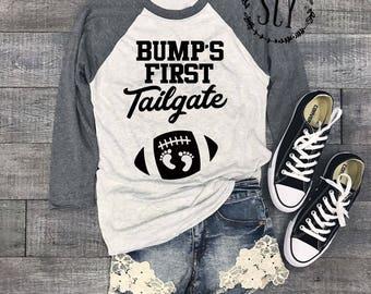 Bump's First™ Tailgate Pregnancy Shirt - Football Pregnancy Shirt - Game Day Shirt - Football Season Tee - Pregnancy Announcement