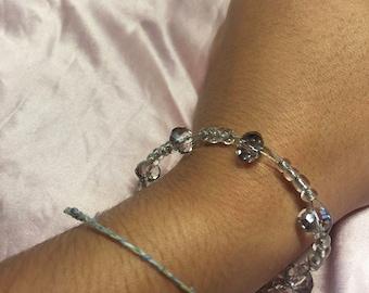 Light Grey Glass Jewel Beaded Twisted Wire Bracelet