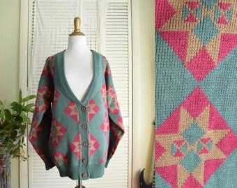 Southwestern Sweater - Large - Oversized V-neck Cardigan - Suburbans Button Down Sweater - Boho sweater - vintage southwest knit sweater