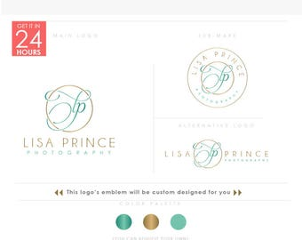 Feminine photography monogram Logo,  turquoise logo, Branding Package, calligraphy,  Gold initials letters in script font, calligraphic Logo