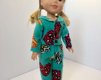 "Wellie wisher pajamas. Doll pajamas. 14.5"" doll pajamas. Zebra and cheetah print."