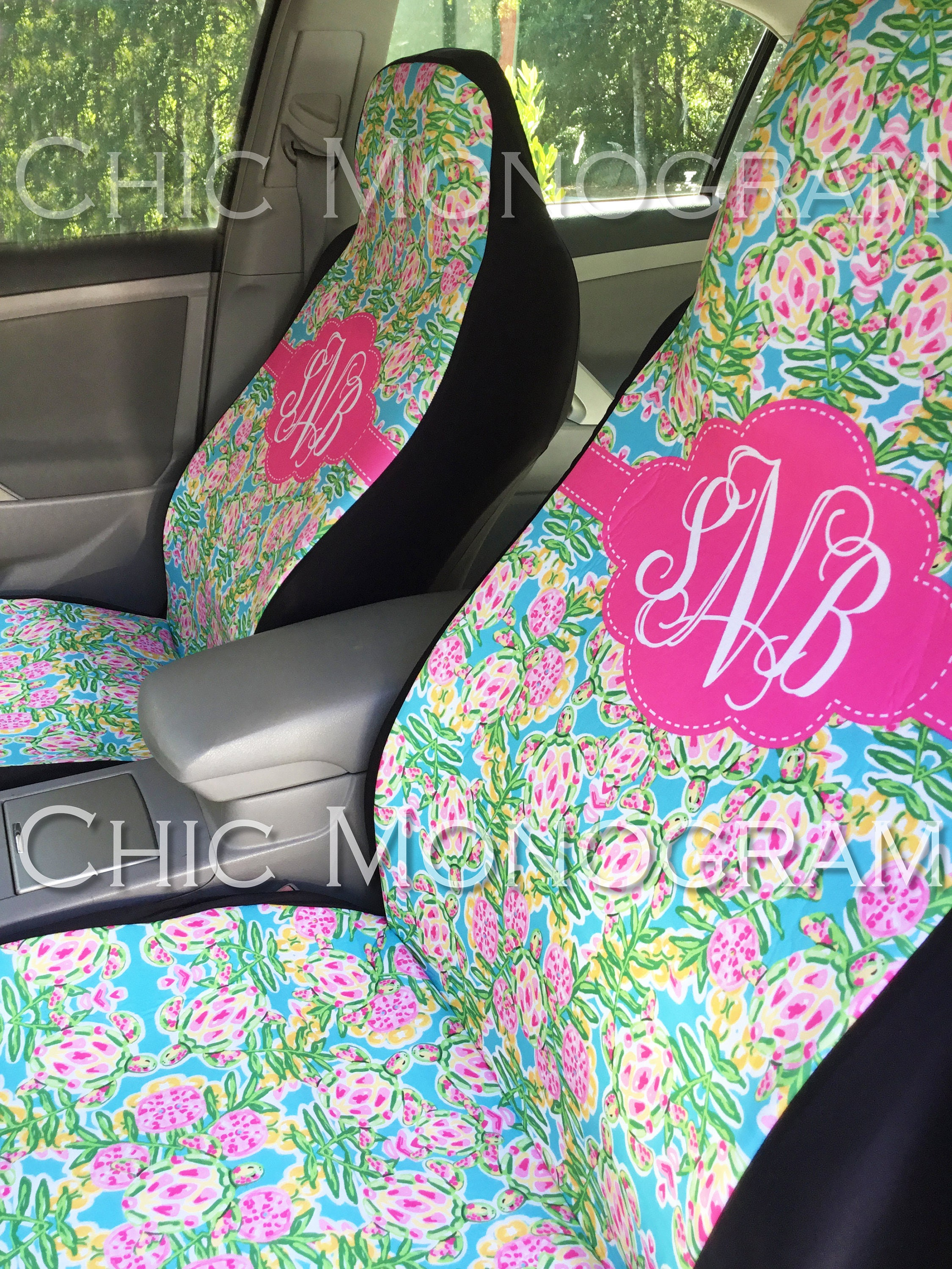 Sea Turtle Car Accessories Seat Covers For Vehicle Front Floor Mats Monogram Swimming Turtles Lilly