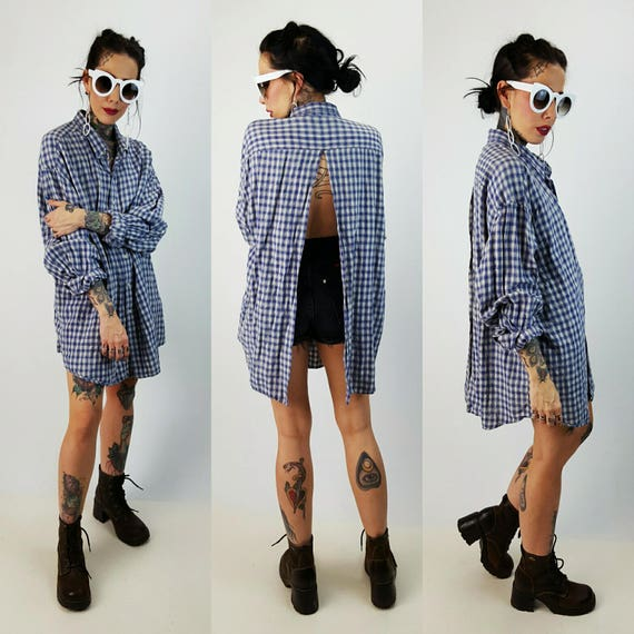 Remade Vintage Cutout Back Flannel Extra Large - 90's Blue Grunge Plaid Shirt - Slouchy Baggy Oversized Upcycled Backless Cut Out Top