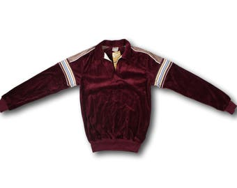 Vintage 80's Sz. XS/S SEARS Maroon Velour Collared V-Neck Sweatshirt - New w/Tags!!!