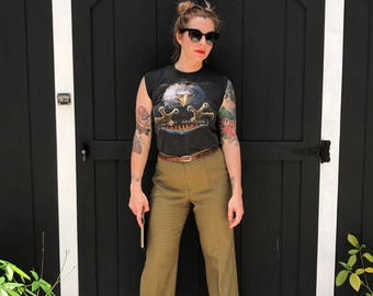 70's Avocado Green Tweed Trousers