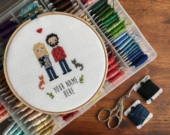 Custom Wedding Cross Stitch - Personalized Wedding Gift - 2nd Anniversary Gift - Custom Wedding Gift - Engagement Gift - Cotton Anniversary