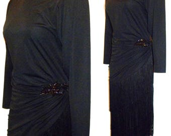 1980s 80's Dress / 80s does 20s / Fringe Flapper Style Skirt Asymmetrical Hemline BLACK Evening / APROPOS / vintage size 6