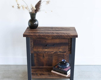 Reclaimed Wood Nightstand / Industrial Bedside Table