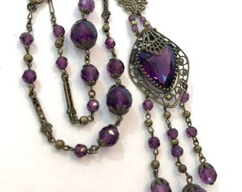 Antique Victorian Amethyst Glass Necklace Vintage Filigree Purple Faceted Crystal Pendant Necklace Vintage Wedding Necklace Estate Jewelry