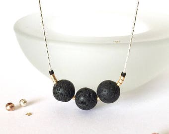 Lava Stone Necklace, Lava Bead Necklace, Lava Rock Jewelry, Essential Oil Necklace Diffuser Jewelry, Aromatherapy, Minimalist Necklace