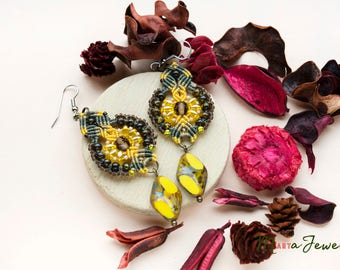 Micro-macrame earrings, unique, yellow, beaded , Picasso beads, macrame jewelry, bohemian, long, dangle, beadwork, bright, gift idea for her
