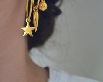 Gold charm hoops, small charm hoops, gold star hoops, evil eye hoops, vermeil hoops, stackable hoops
