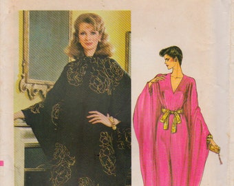 RARE Vogue 8099 Misses' Vintage 1980s Caftan Evening Dress Sewing Pattern Very Easy Vogue Patterns Australia V Neck Kaftan Size Small UNCUT