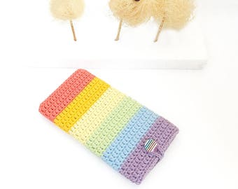 Pastel iPhone 7 plus cover, Samsung S8 plus sleeve, Rainbow Pixel XL sock, Sony Xperia L1 pouch, vegan Kindle 8 cozy, ZTE Axon 7 Max case