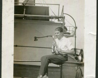 Vintage Photo of Boy Playing a Saxophone, 1930's Original Found Photo, Vernacular Photography