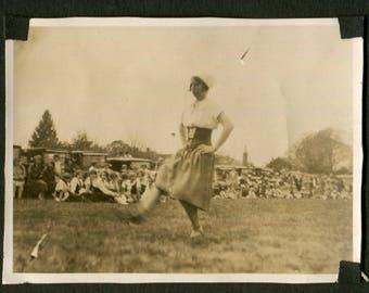 Vintage Snapshot Photo Dutch Girl Dancing a Jig 1910's, Original Found Photo, Vernacular Photography