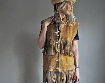 Vintage Fringed Suede Leather Vest - Whiskey Tan Suede - Western Wear - 60s 70s