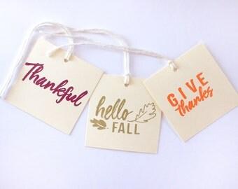 Thanksgiving Fall Thankful Tag Set 15 Blank holiday treat tag party decor