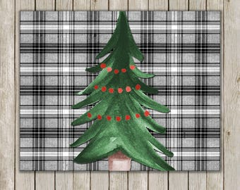 8x10 Christmas Tree Art, Plaid Holiday Print, Christmas Poster Print, Holiday Wall Art, Holiday Decor, Instant Download, Digital Art Print