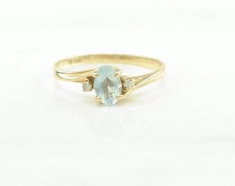 10k Gold Aquamarine and Diamond Ring Size 5 Vintage Blue