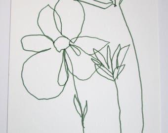 "ORIGINAL Abstract Minimalist Drawing; ORIGINAL Botanical Illustration; ""Blume""; Botanical Drawing, Flower Drawing,"