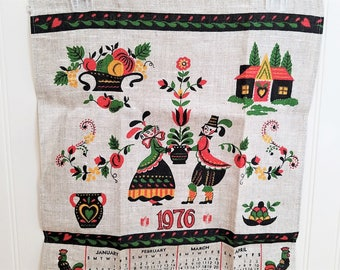 Vintage Tea Towel Pennsylvania Tea Towel Dutch Folk Art Towel Parisian Prints Towel 1976 Calendar Towel Dutch Design NOS Tea Towel