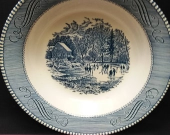 """Currier & Ives by Royal Underglaze Early Winter Blue Transferware 8.25"""" Soup Bowl"""