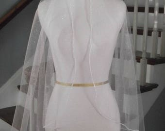 Angel Dust Sparkling Tulle Wedding Veil with Rhinestone Trim Edge- Free Samples
