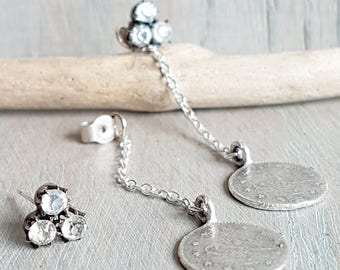 Antique Crystal And Silver Coin Drop Earrings
