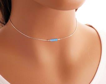 Dainty Choker Necklace - Opal bead on a silver chain, Layering Necklace, Opal Necklace, Dainty Necklace, Gemstone Choker, KR 007