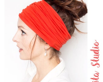 Red Headband Wide Headband Yoga Headband Boho Headband Running Headband Womens Hair Accessories Dark Red Headwrap Head Wrap Hair Wrap