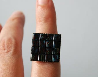 Red And Blue Adjustable Tile Mosaic Ring, Statement Ring, Festival Jewelry