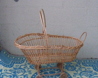Little bed, cradle for dolls with wheels, natural wicker and wood, vintage 1970